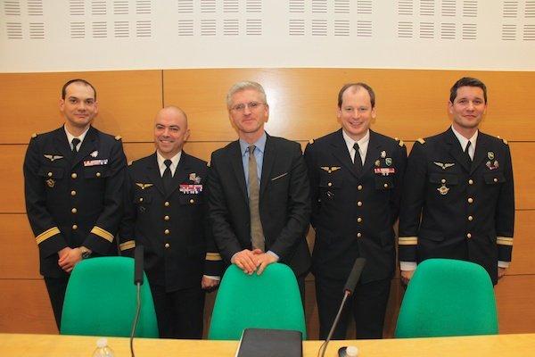 Commandant Xavier Rival, Colonel Louis Pena, Francois Laval, Lieutenant-colonel Yann Bourion, Lieutenant-colonel Olivier Saunier (Photo: Yann Schreiber))