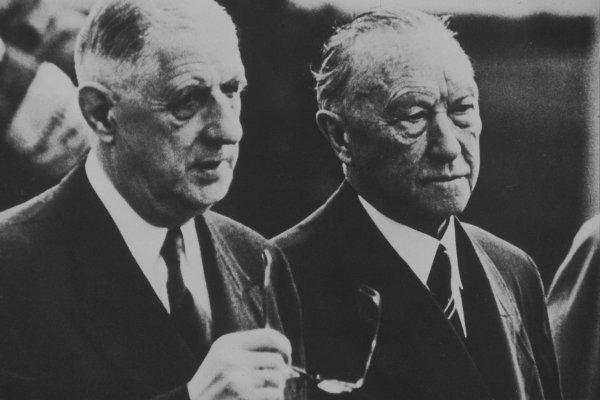 Charles de Gaulle et son compère allemand Konrad Adenauer,
