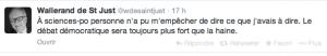 Un tweet de Wallerand de Saint-Just au sortir du débat.