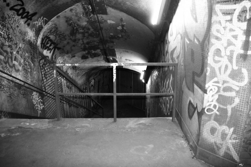 Escalier descendant sur le quai de Croix-Rouge.