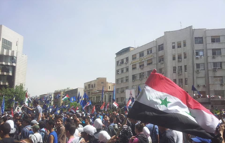 Manifestation pro-gouvernement le 17 avril en commémoration de l'indépendance de la Syrie