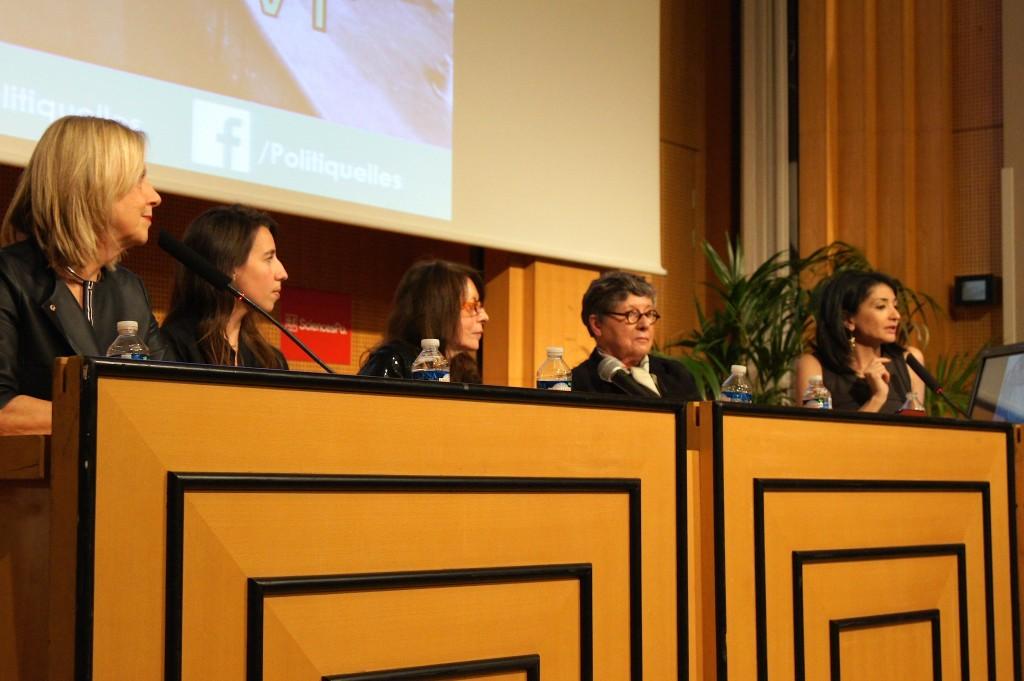 Les invitées à la conférence Politiqu'elles, de gauche à droite: Brigitte Grésy, Réjane Sénac, Janine Mossuz-Lavau, Françoise Gaspard et Jeannette Bougrab.