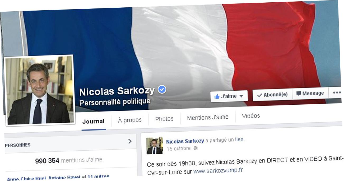 La page Facebook de Nicolas Sarkozy.