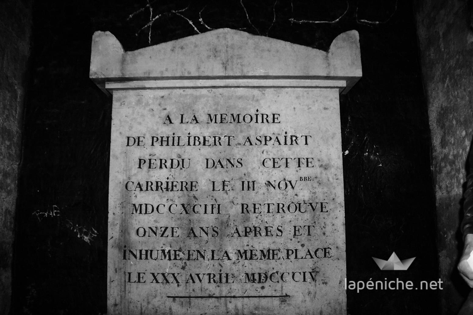La tombe de Philibert Aspairt, le premier des cataphiles