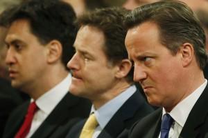 Ed Miliband, Nick Clegg et David Cameron.