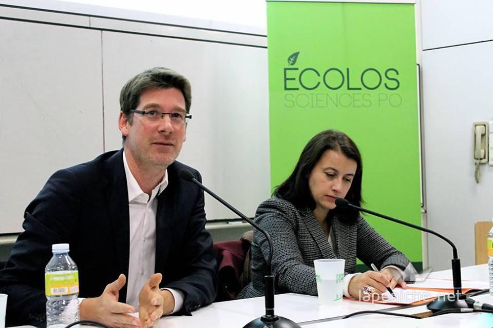 Pascal Canfin et Cécile Duflot à Sciences Po lors de la conférence organisée au premier semestre par les Jeunes Ecolos.