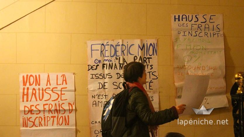 Manifestation de l'UNEF contre la hausse des frais d'inscription fin 2013. Photographie : Amal Ibraymi.
