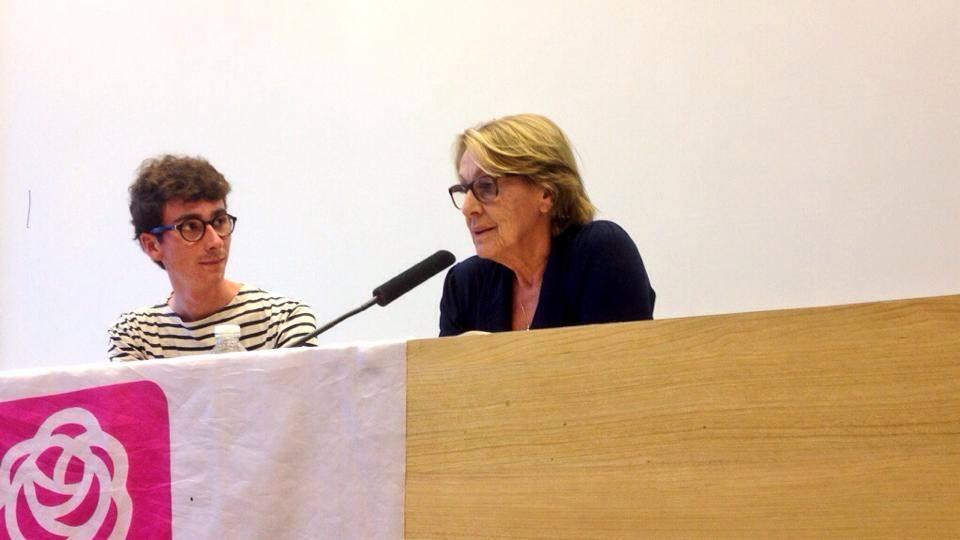 Ewen Huet aux côtés de Marlyse Lebranchu lors d'une conférence du MJS.