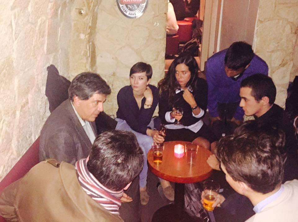 Quelques militants de CRE autour Jacques Sapir en février dernier après une conférence de l'économiste à Sciences Po.